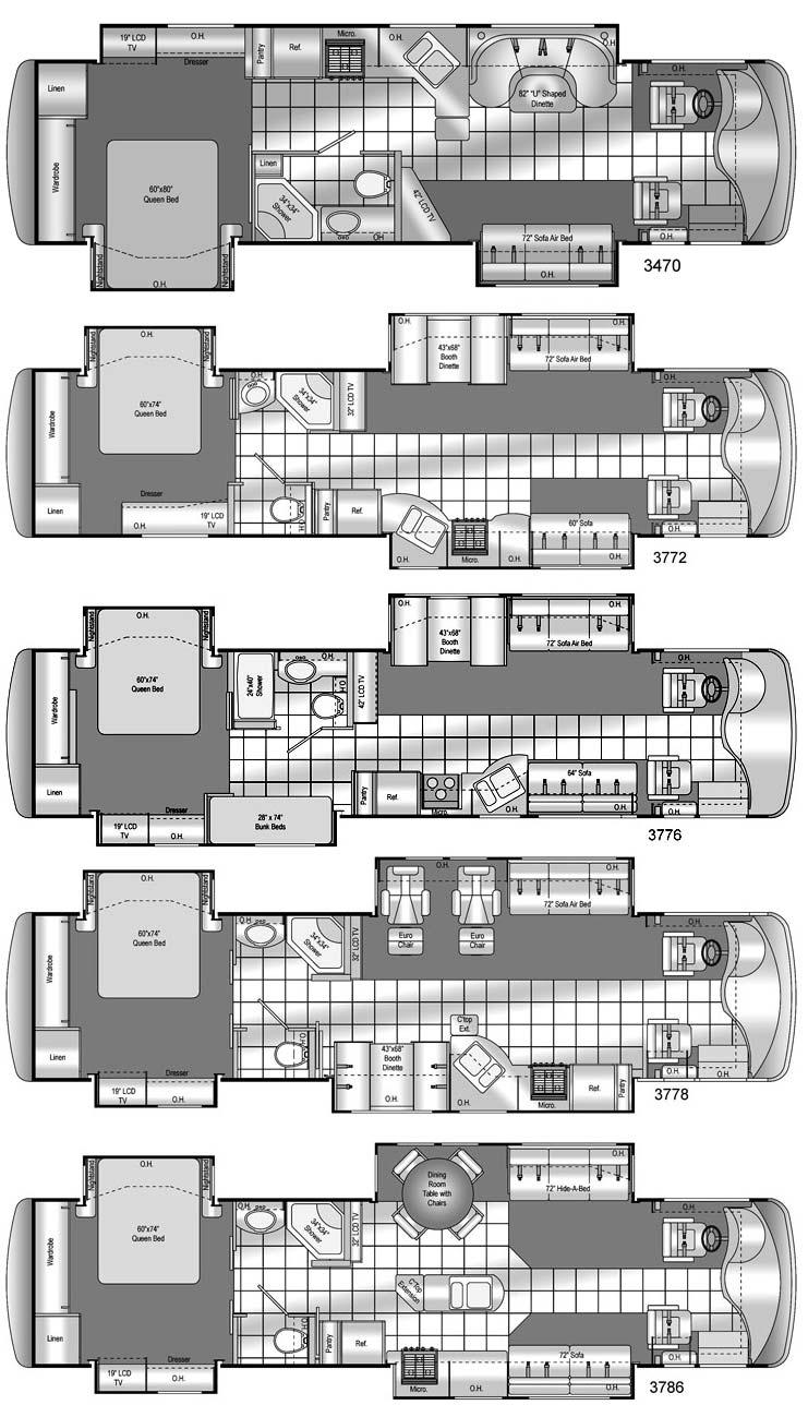 Damon Astoria class A motorhome floorplans - 5 models, 3470, 3772, 3776, 3778, 3786