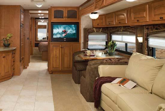 Damon Astoria class A motorhome interior showing main living area