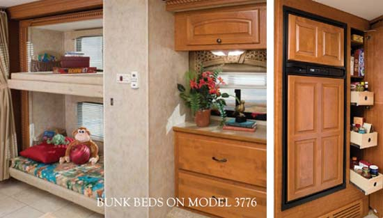 Damon Astoria class A motorhome interior showing bunk beds - model 3776 - and large refrigerator