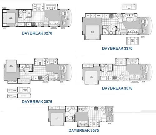 Damon Daybreak class A motorhome floorplans - small picture - click for larger picture