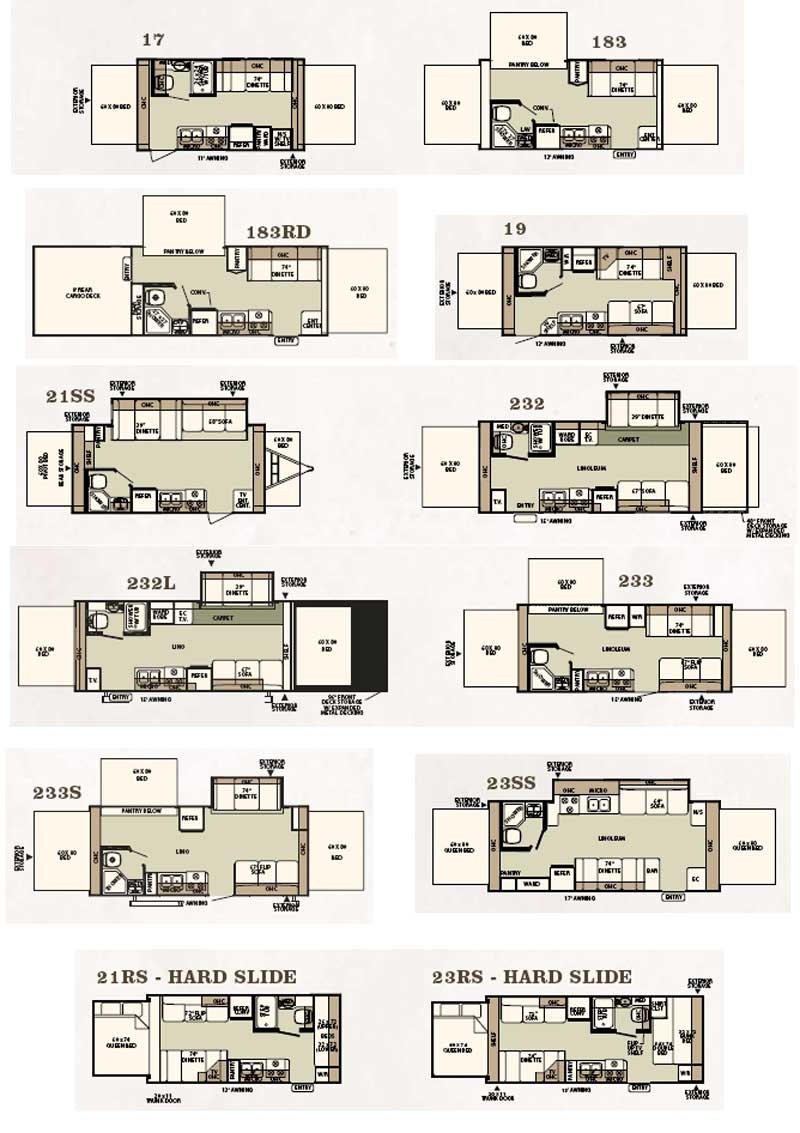Forest River Shamrock Expandable Travel Trailer Floorplans