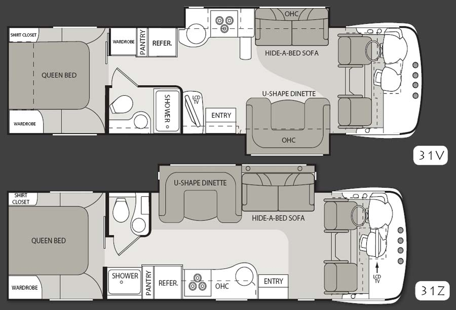 Four Winds Serrano class A motorhome floorplans - models 31V and 31Z - with 2 lengths and differing layouts