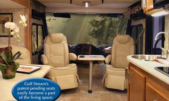 Gulf Stream Montaj class A motorhome interior - front seat arrangement