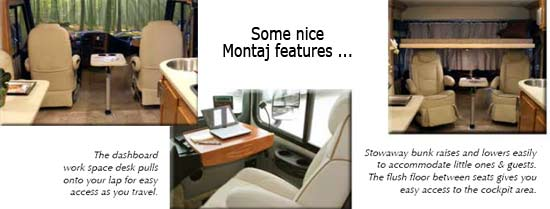 Gulf Stream Montaj class A motorhome interior - some nice features - front seating, dashboard desk, stowaway bunk