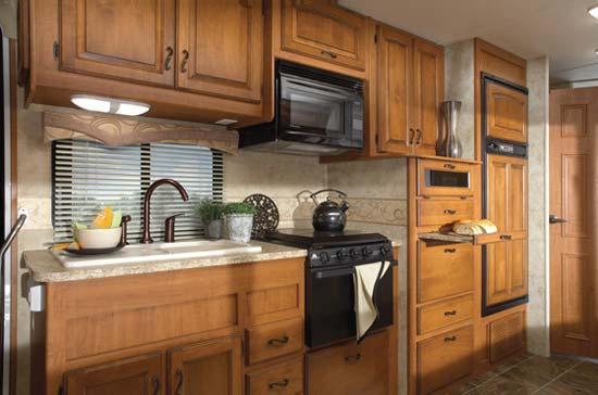 Jayco Greyhawk class C motorhome interior - kitchen area