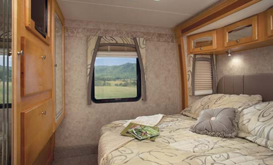 Jayco Melbourne class C motorhome bedroom arrangement