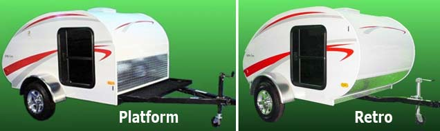 Little Guy teardrop camper trailer 5-wide series - platform and retro models