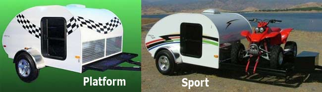 Little Guy teardrop camper trailer 6-wide series - platform and sport models