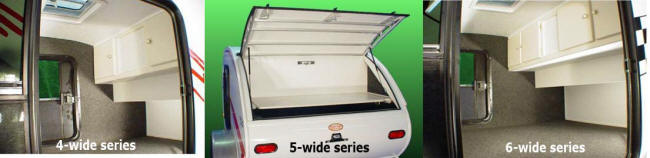 Little Guy teardrop camper trailer interiors - 4-wide, 5-wide and 6-wide series