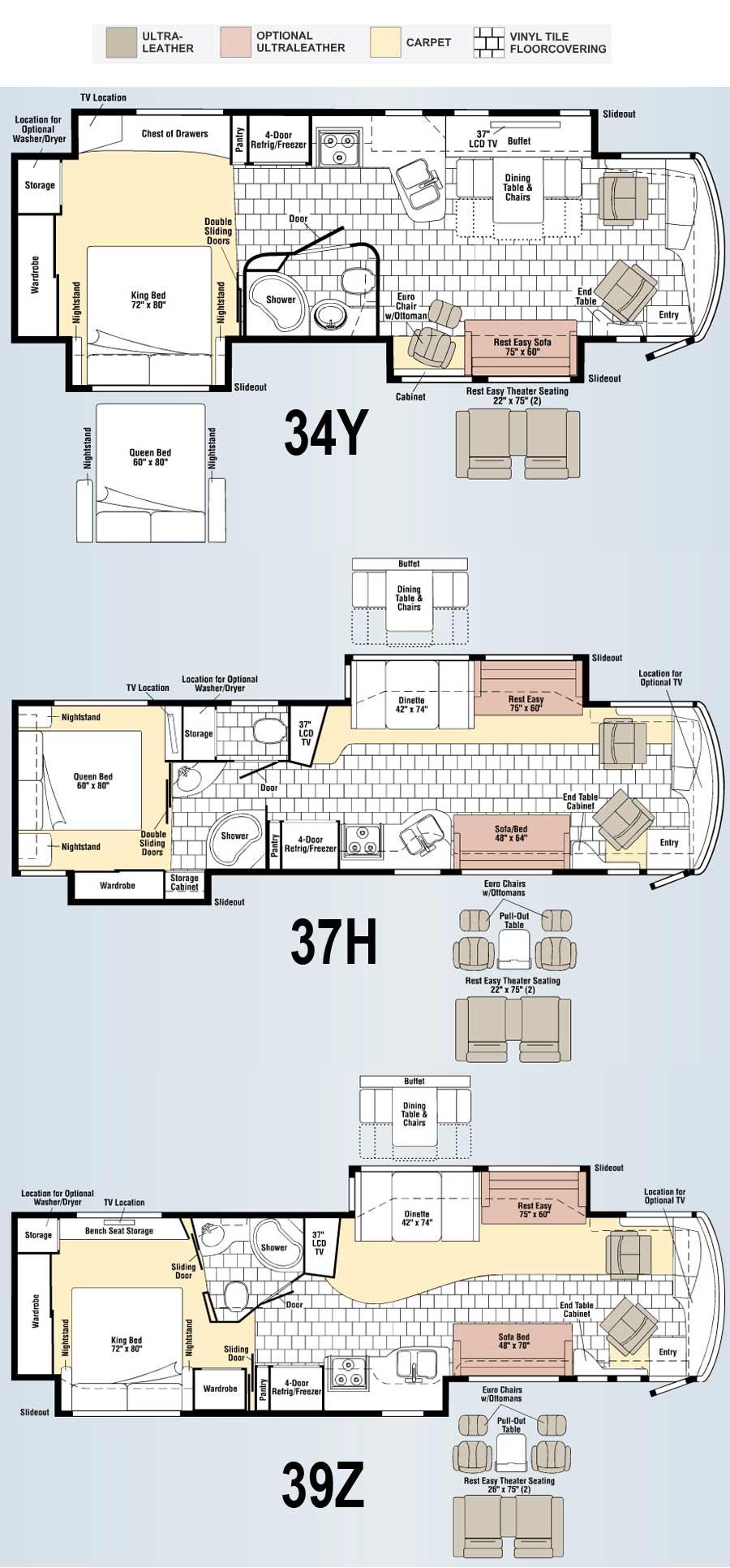 Winnebago Journey class A motorhome floorplans - large picture