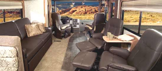Winnebago Journey class A motorhome interior - 39Z model with twin UltraLeather Euro chairs