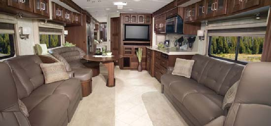 Winnebago Tour class A motorhome interior 40WD Stonehenge with Concert Cherry