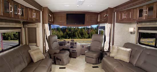 Winnebago Tour class A motorhome interior looking forward
