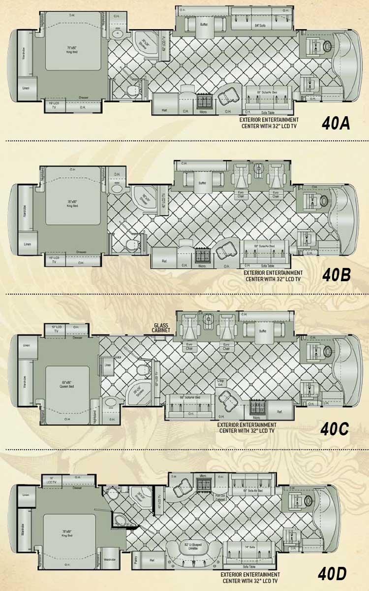 Damon Essence class A motorhome floorplans