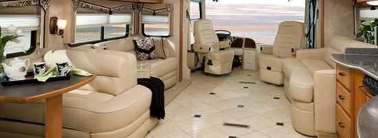 Damon Essence class A motorhome interior - living area