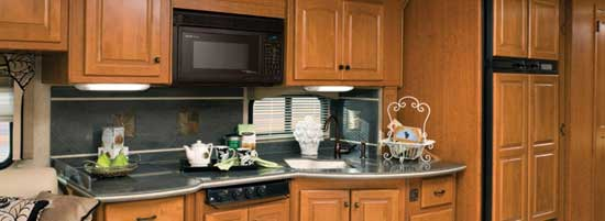Damon Essence class A motorhome interior - kitchen area