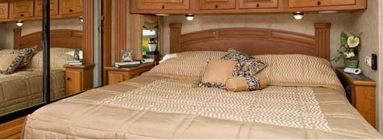 Damon Essence class A motorhome interior - bedroom
