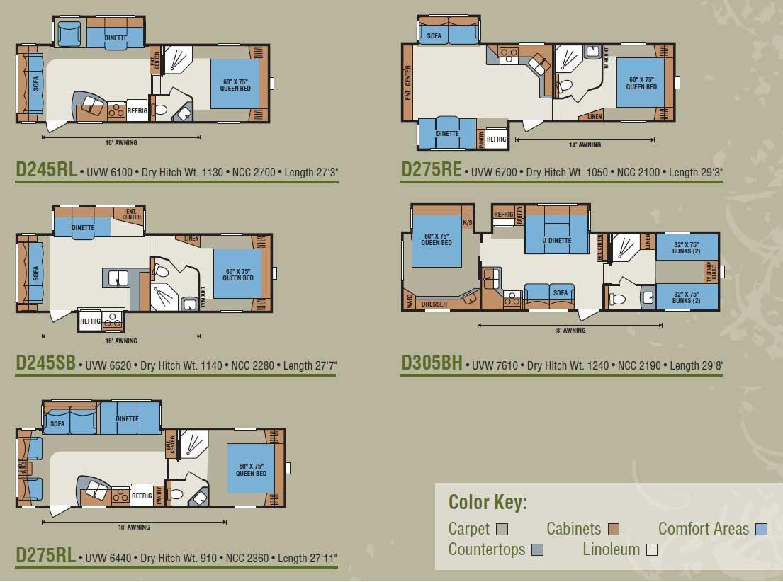 Fifth Wheel Floor Plans Kz Durango 1500 Fifth Wheel