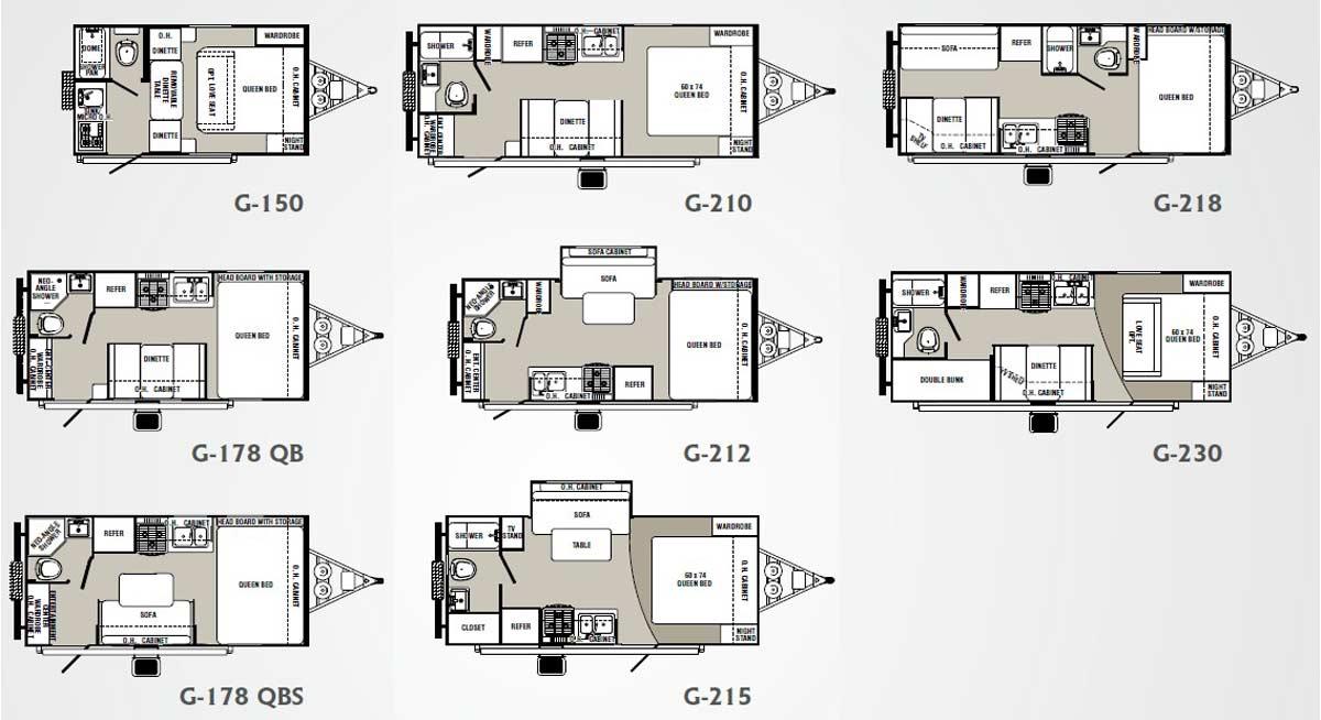Palomino Gazelle micro-lite travel trailer floorplans