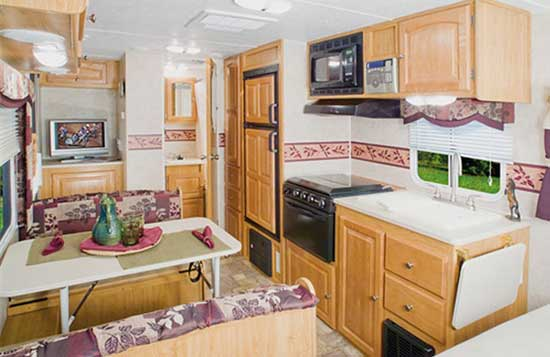 Palomino Gazelle micro-lite travel trailer interior - G210 model looking to the rear
