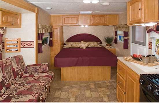 Palomino Gazelle micro-lite travel trailer interior G215 model bed area