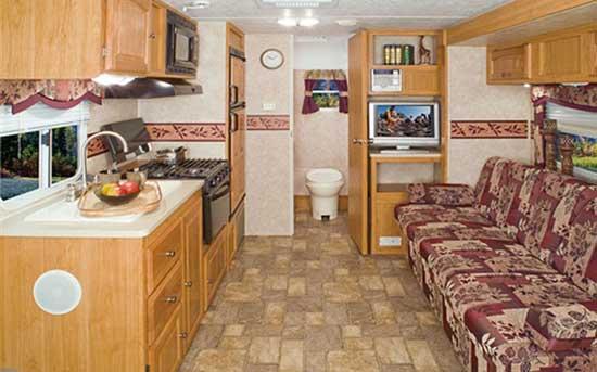 Palomino Gazelle micro-lite travel trailer interior looking to bathroom end