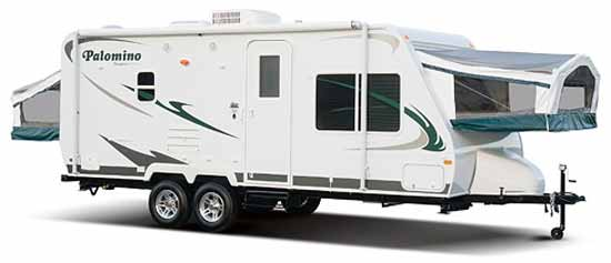 Palomino Stampede ultra-lite travel trailer exterior - open