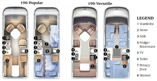 Roadtrek 190 Popular and Verstile class B motorhome floorplans - small picture - click for a bigger picture