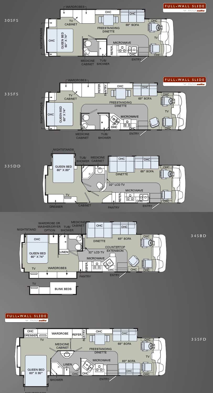 2010 Holiday Rambler Admiral class A motorhome floorplans