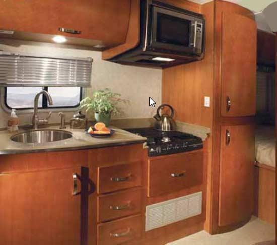 Fleetwood Icon class C motorhome kitchen arrangement