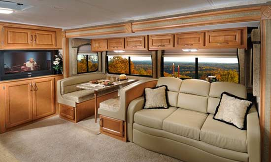 Four Winds Hurricane class A motorhome interior - dinette/hide-a-bed sofa