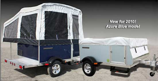 Quicksilver 6.0 automotive tent camper - exterior, open and closed - with 2010 azure blue model