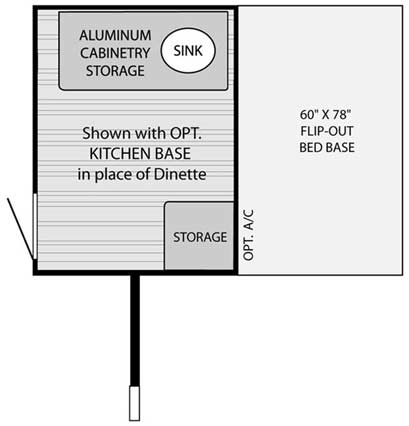 Quicksilver 6.0 automotive tent camper floorplan with optional kitchen base