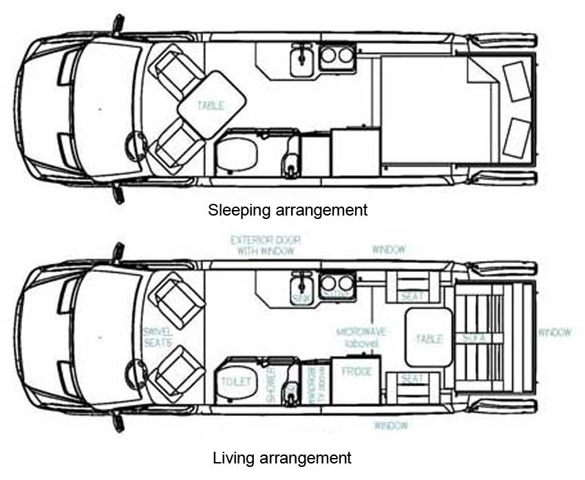 2010 Roadtrek SS Ideal class B motorhome floorplans