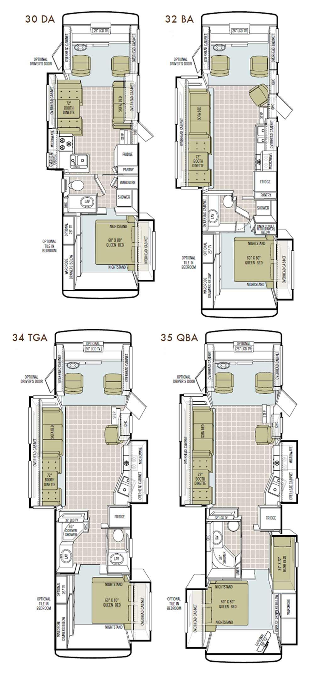 Tiffin Allegro class A motorhome floorplans - 4 floorplans available