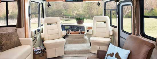 Tiffin Allegro class A motorhome interior - looking forward