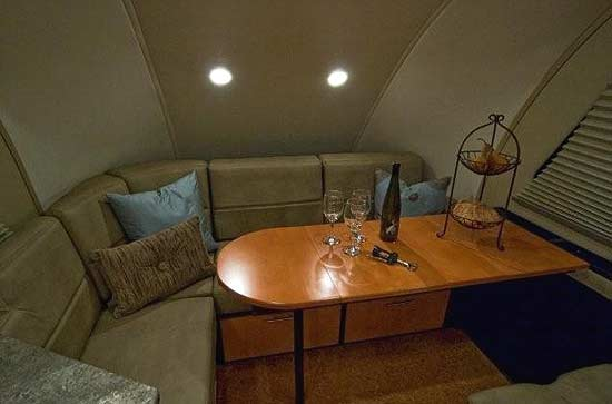 Galileo RS travel trailer interior - forward area with table arrangement