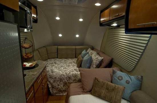 Galileo RS travel trailer interior - forward area as bed