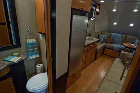 Galileo RS travel trailer interior showing kitchen and forward