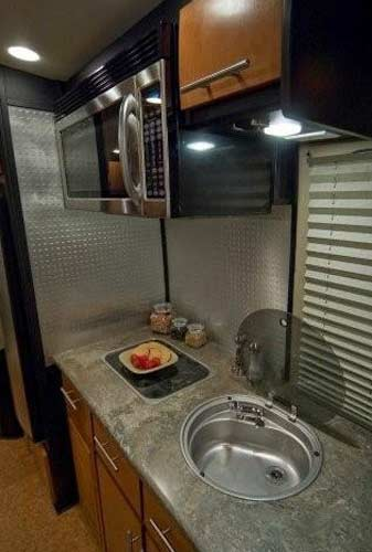 Galileo RS travel trailer interior - kitchen view
