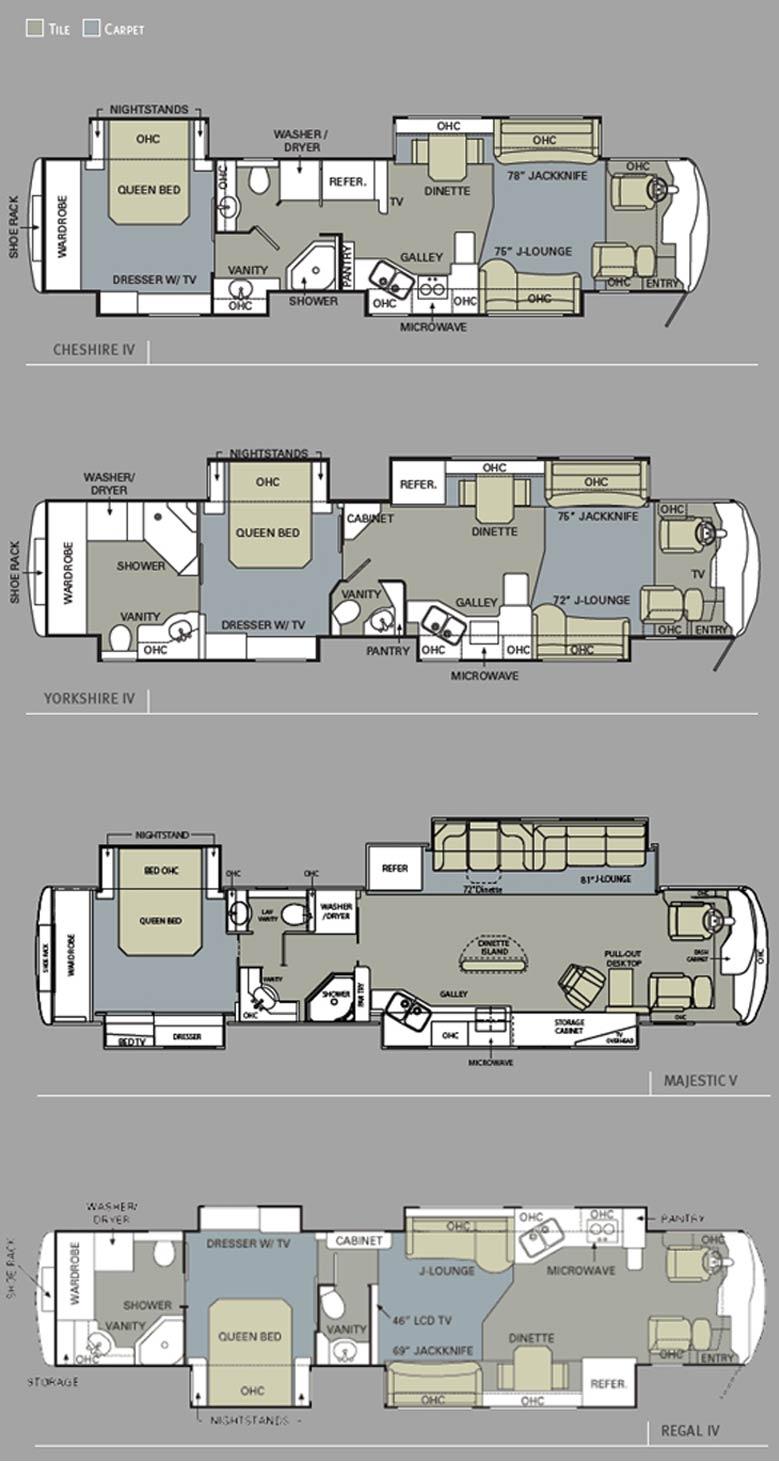 2010 Monaco Dynasty Luxury Motorcoach Floorplans