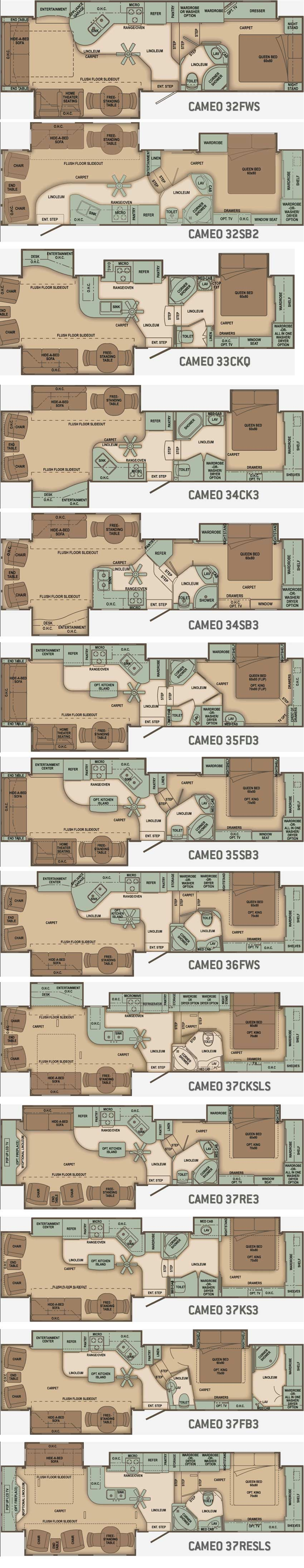 Carriage Cameo Fifth Wheel Floorplans Large Picture