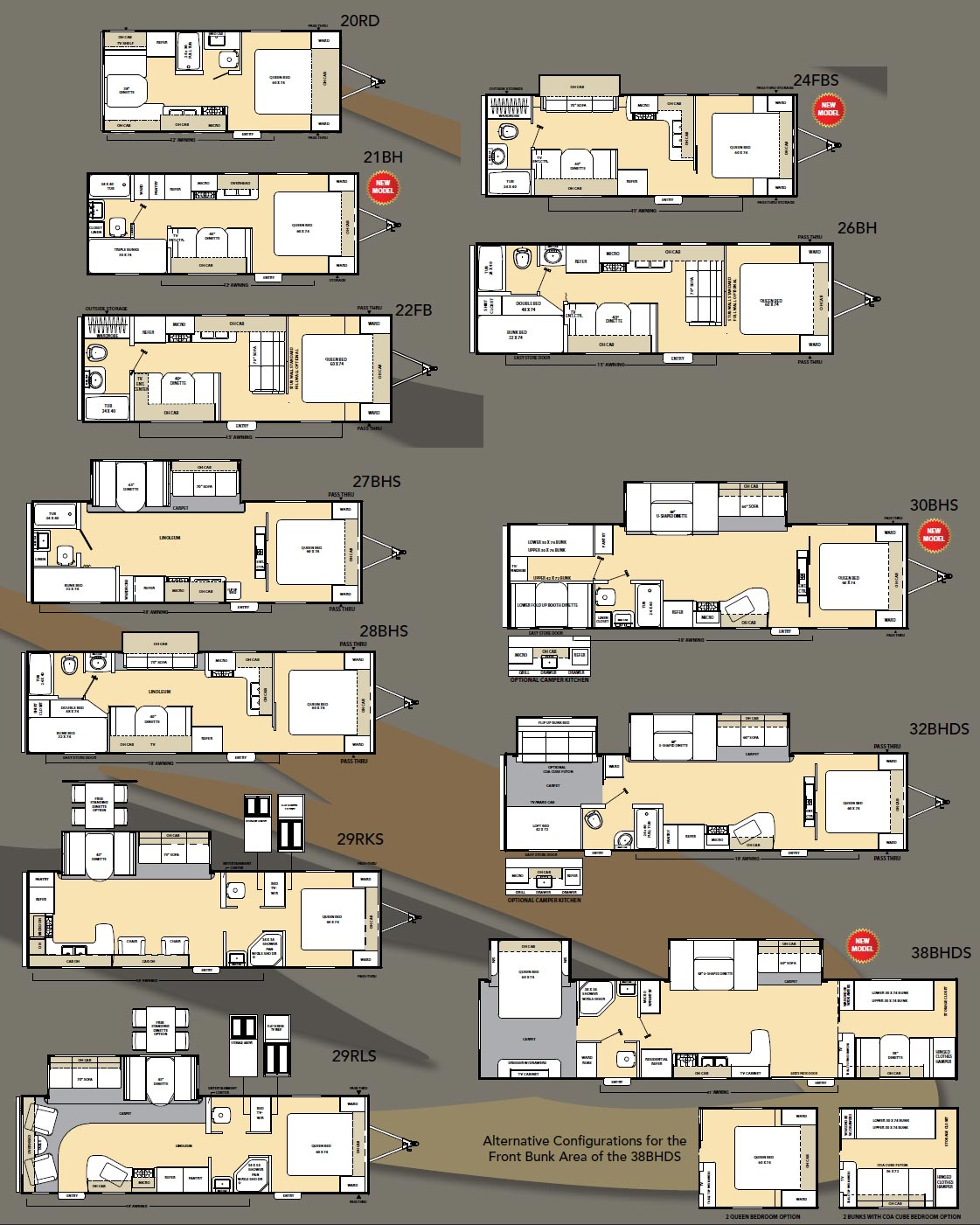 Coachmen Catalina travel trailer floorplans