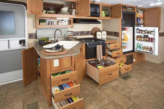 Prime Time LaCrosse Travel Trailer Interior   Kitchen