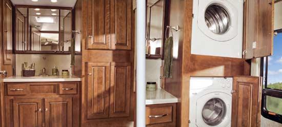 2010 Winnebago Tour class A motorhome storage and washer/dryer arrangement