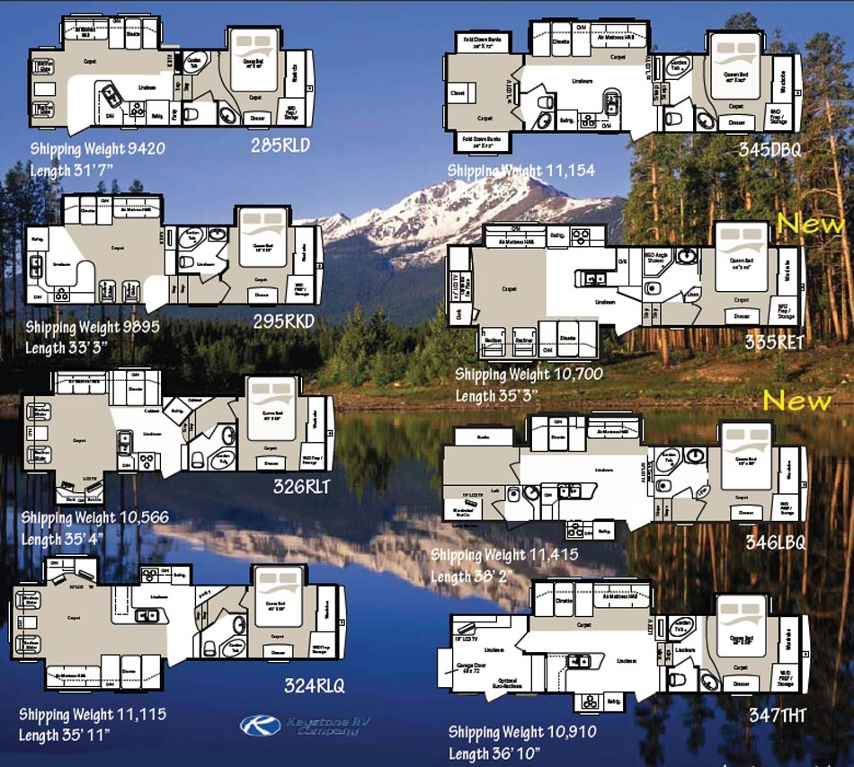 Keystone Montana Mountaineer Fifth Wheel Floorplans