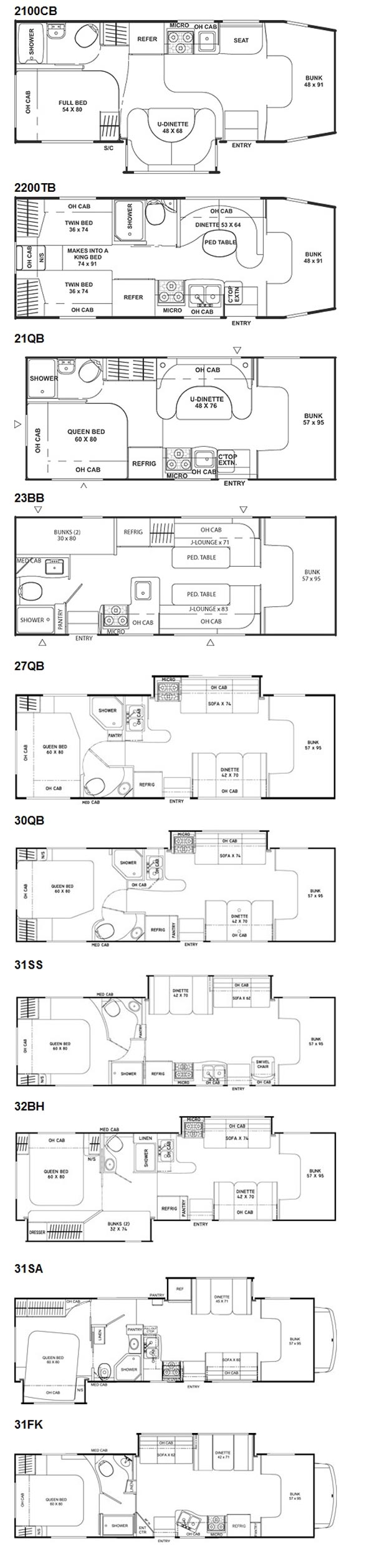 2011 Coachmen Freelander class C motorhome floorplans