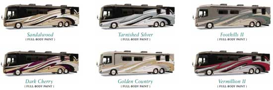2011 Itasca Ellipse diesel class A motorhome - exterior decor choices - click for a bigger picture
