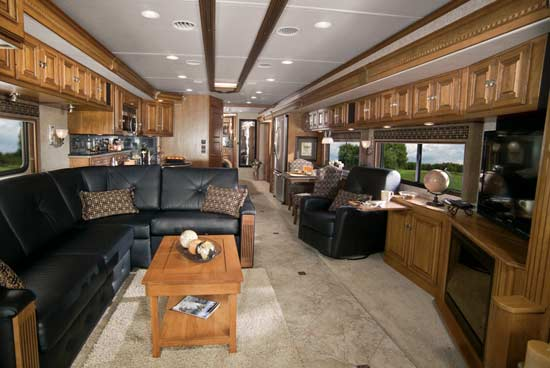 2011 Itasca Ellipse diesel class A motorhome - 42QD interior looking to rear