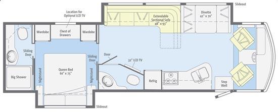 Winnebago Vista class A motorhome 35F floorplan